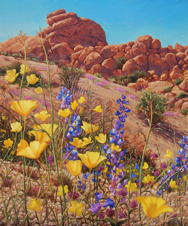Desert Painting - Blooming Desert by Johanna Girard