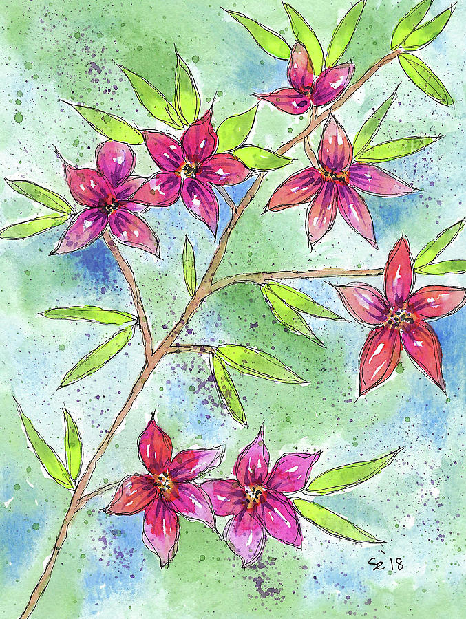 Watercolor And Ink Painting - Blooming Flowers by Susan Campbell