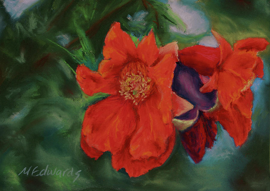 Poms Painting - Blooming Poms by Marna Edwards Flavell