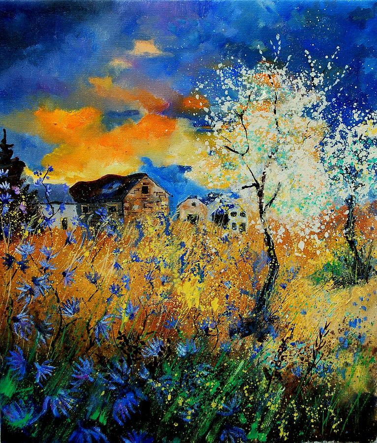 Poppies Painting - Blooming trees by Pol Ledent