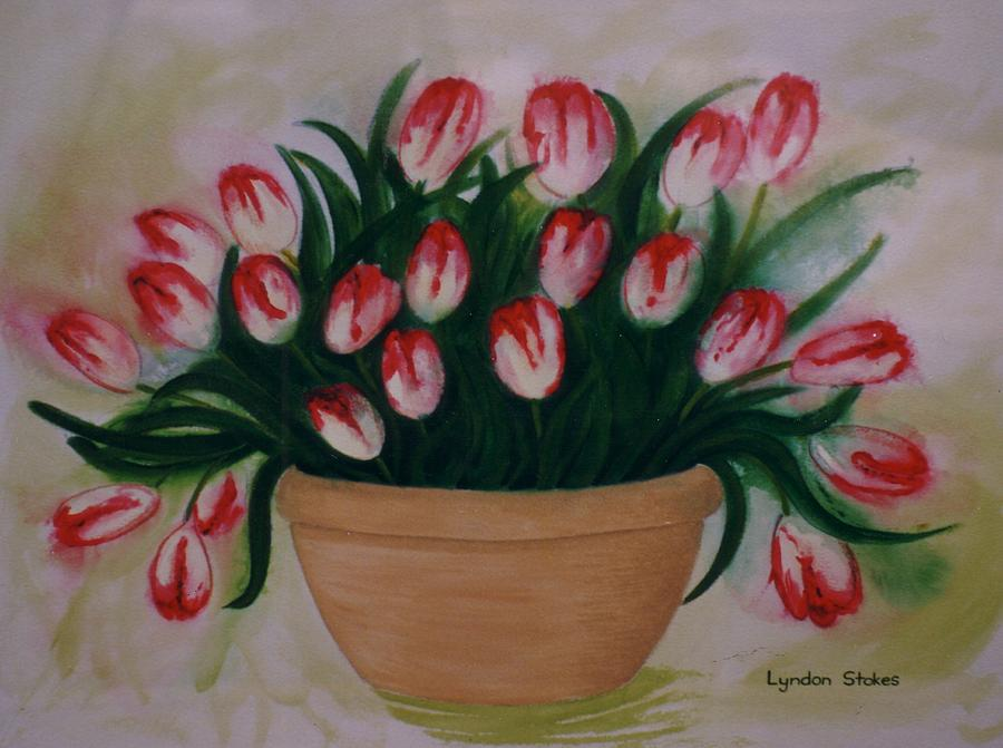 Tulips Painting - Blooming Tulips by Lyndon Stokes