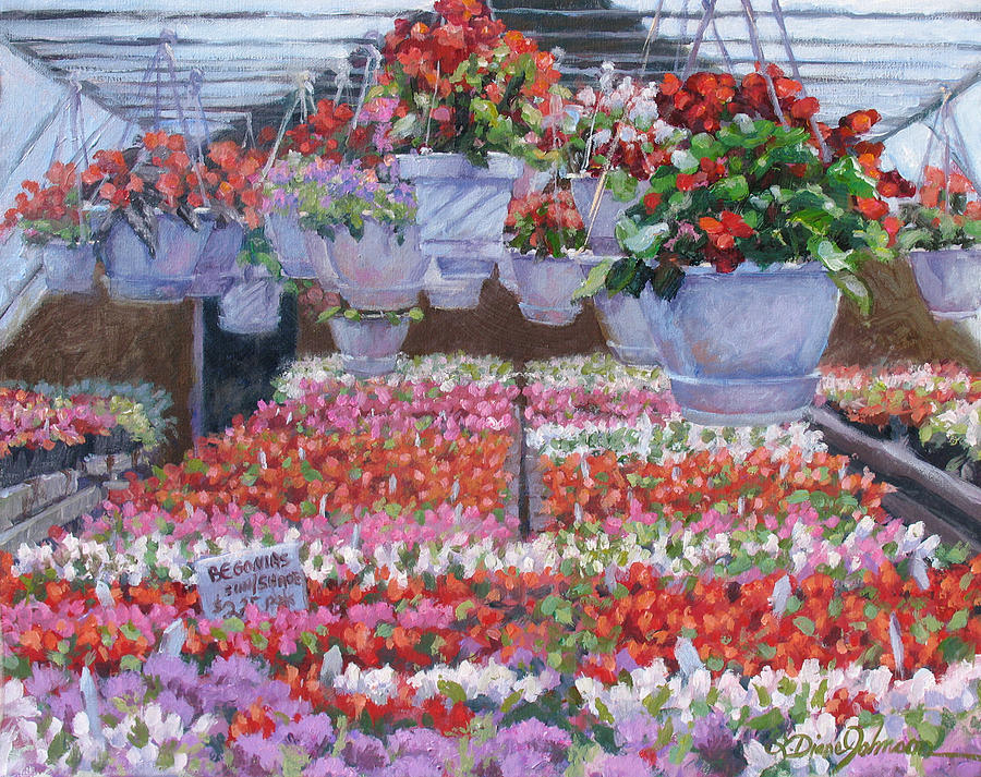 Greenhouse Garden Painting - Blooms Ablaze by L Diane Johnson