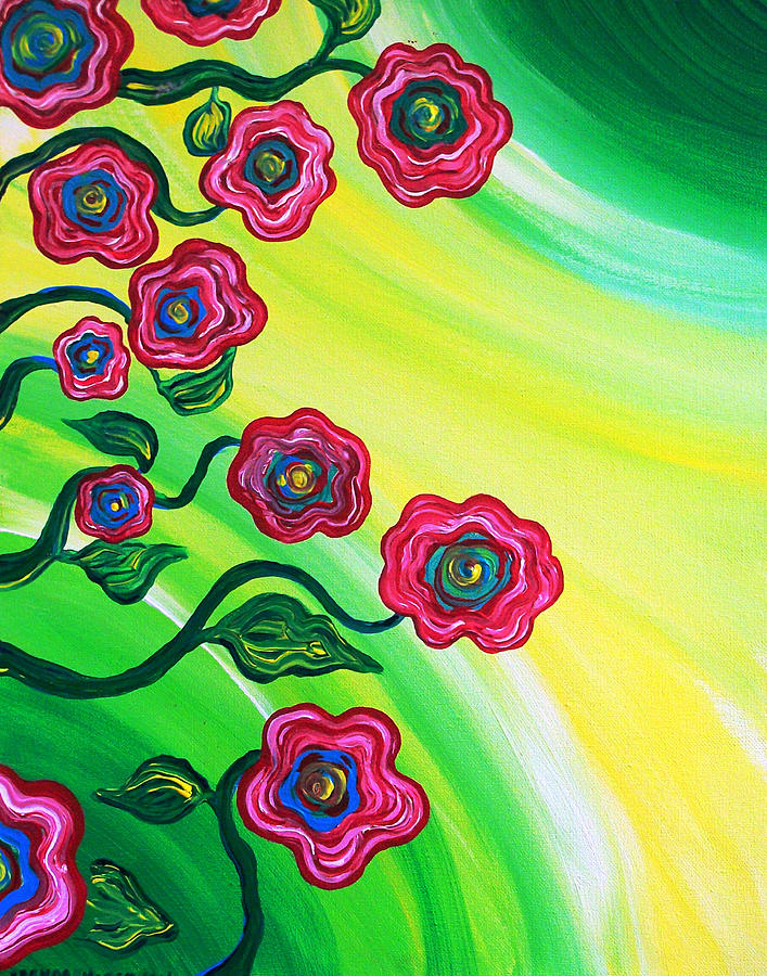 Flowers Painting - Blooms by Brenda Higginson