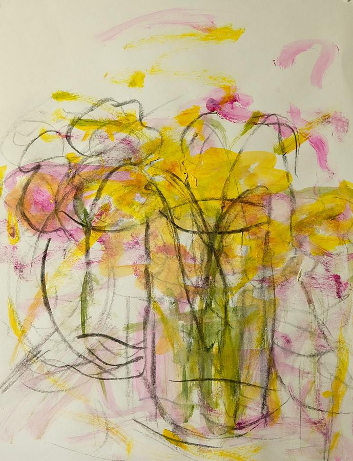 Yellow Painting - Blooms In Shadow by Barbara Rose Brooker