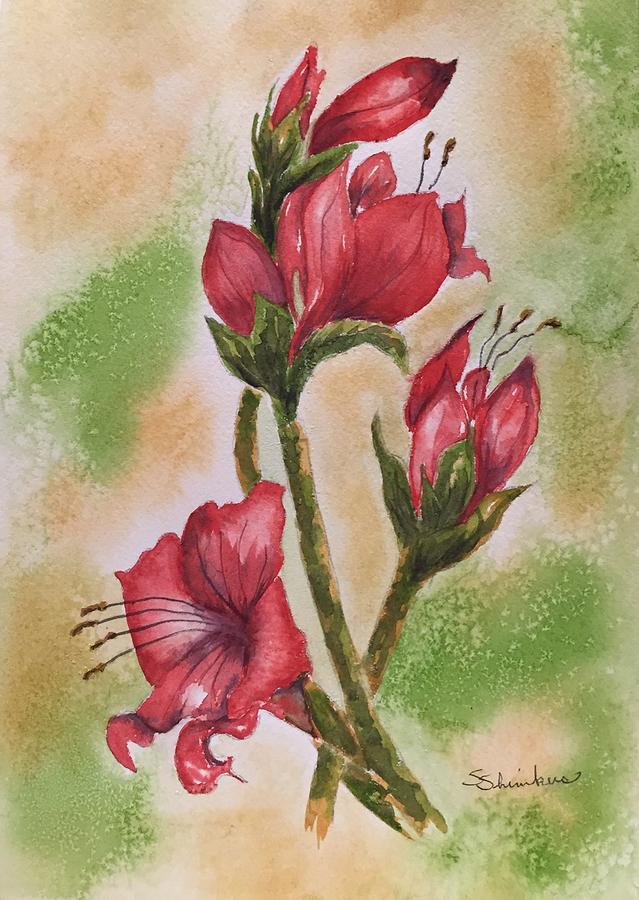 Flowers Painting - Blooms n Red by Sylvia Shimkus