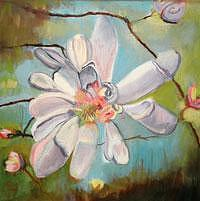 Floral Painting - Blooms Series II - White Blossom by Glynnis Sorrentino