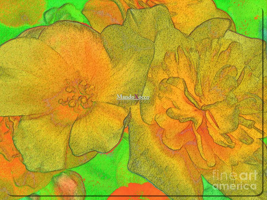 Design Digital Art - Blooms Yellow by Mando Xocco