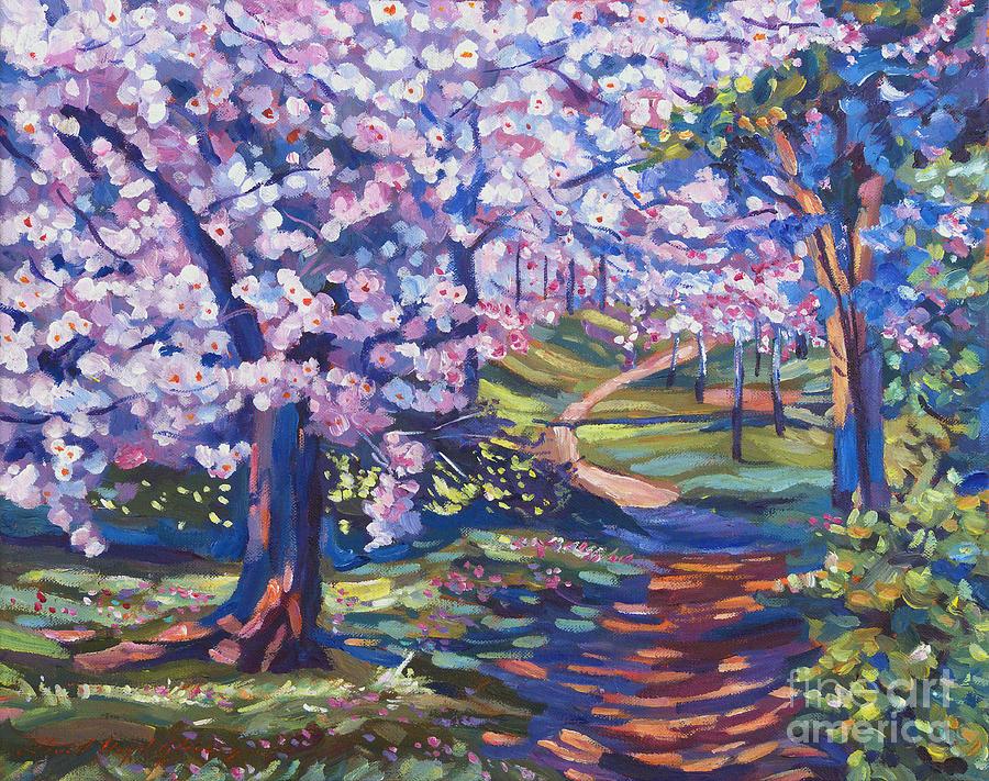 Gardens Painting - Blossom Season - Plein Air by David Lloyd Glover