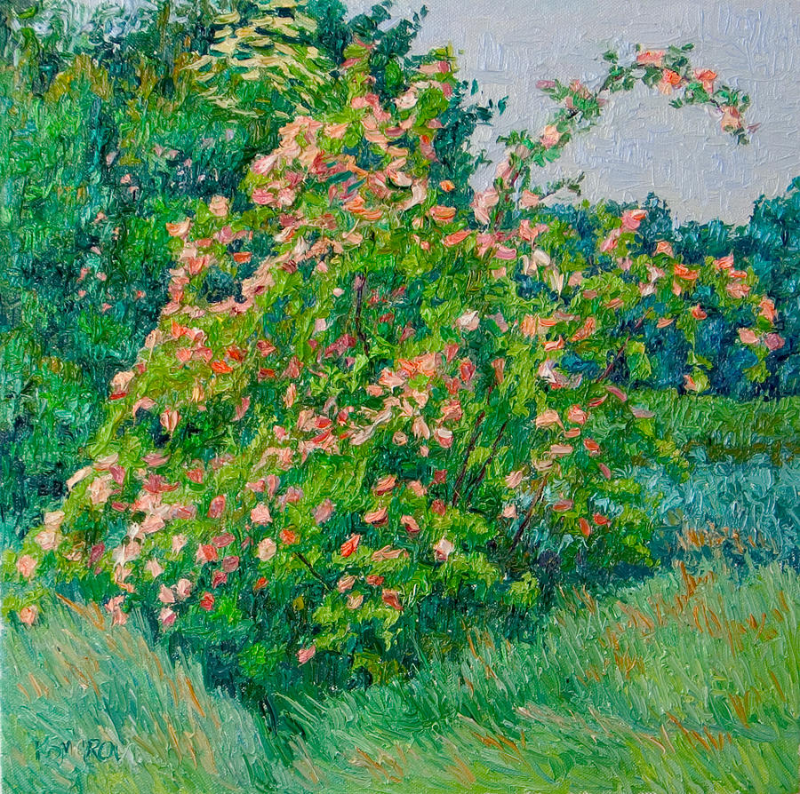 Blossoming Painting - Blossoming Bush Landscape by Vitali Komarov