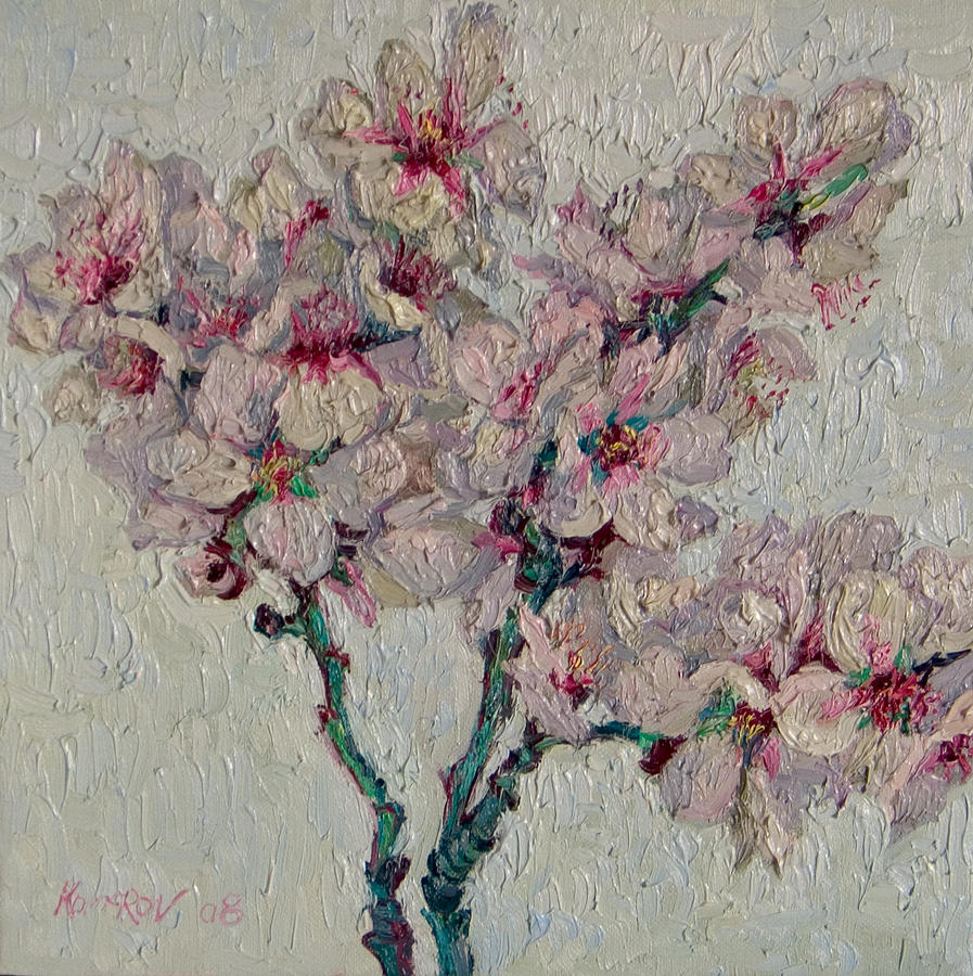 Blossoming Painting - Blossoming Peaches Branch by Vitali Komarov