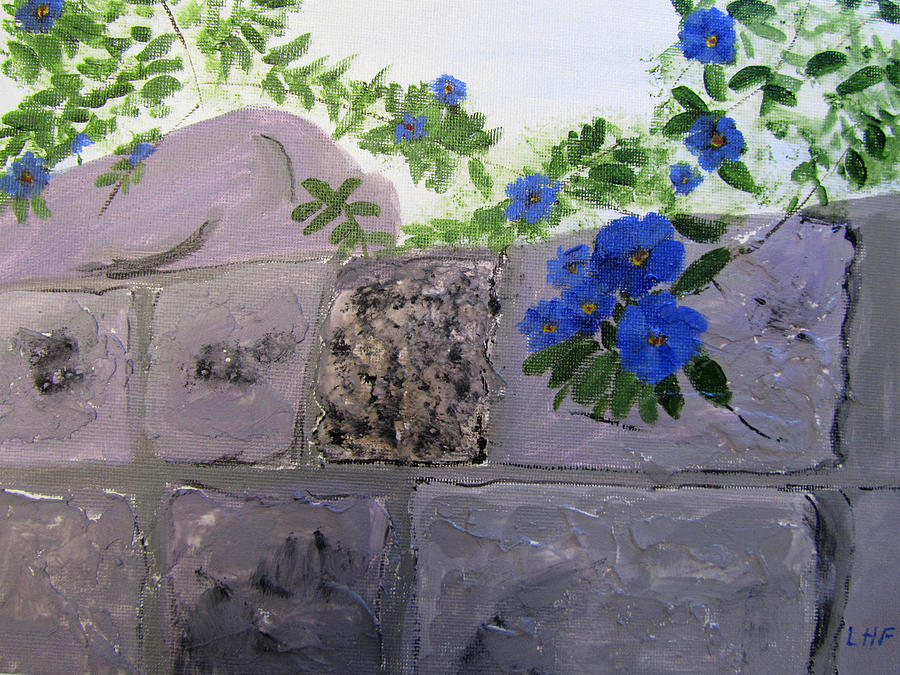 Blossoms along the wall by Linda Feinberg