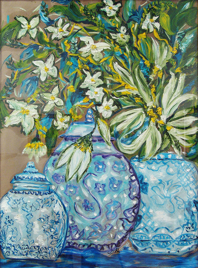 Flowers Painting - Blossoms In A Blue Jar by Suzita George