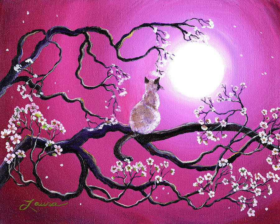 Siamese Cat Painting - Blossoms In Fuchsia Moonlight by Laura Iverson