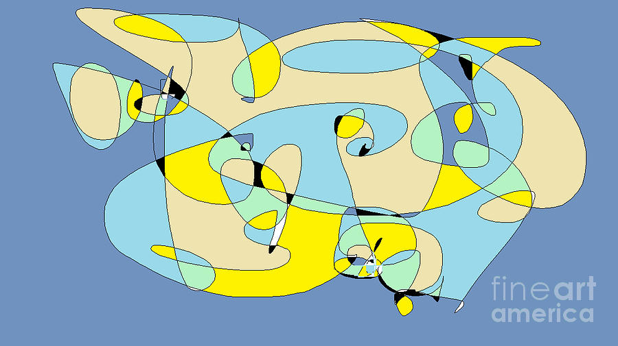 Yellow Digital Art - Blow Fish by Nancy Kane Chapman
