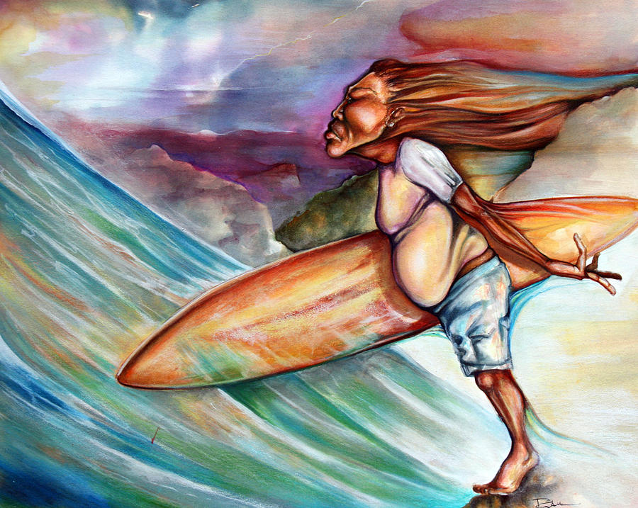 Surf Painting - Blow In The Wind by Robert  Nelson