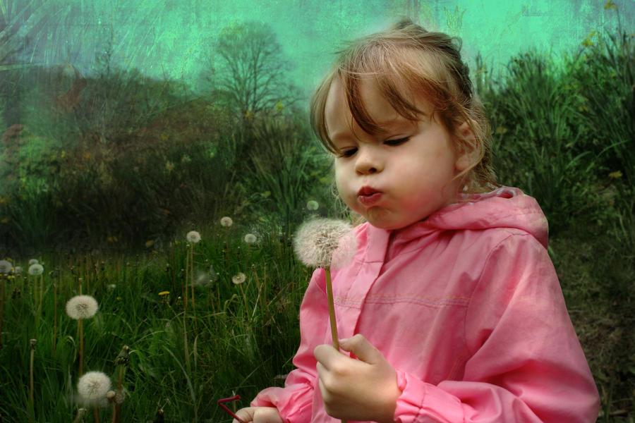 Child Digital Art - Blow by Julie L Hoddinott