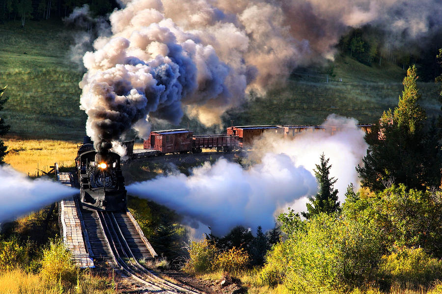 Steam Train Photograph - Blowdown on Lobato Trestle by Ken Smith