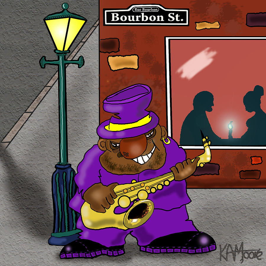 Musicians Drawing - Blowin On Bourbon by Kev Moore