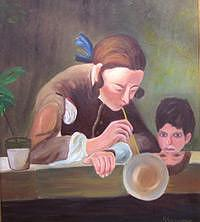 Boy Painting - Blowing Bubbles by Glynnis Sorrentino