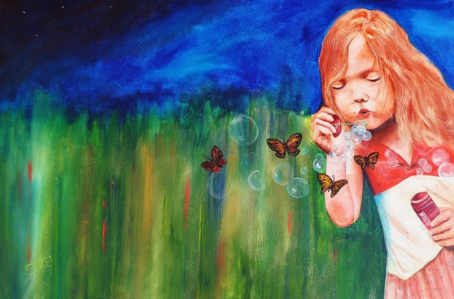 Girl Painting - Blowing Butterflies by Ned M Stacey Sr
