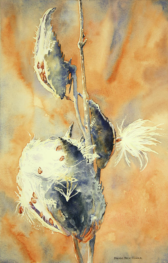 Milkweed Painting - Blowing in the Wind by Brenda Beck Fisher