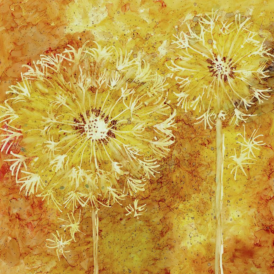 Flowers Painting - Blowing In The Wind by Diane Marcotte