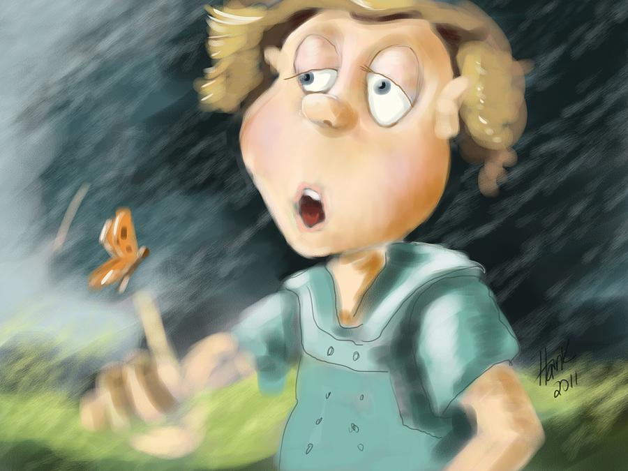 Little Boy Blue Illustration Painting - Blowing In The Wind by Hank Nunes