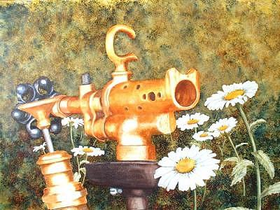 Blowtorch And The Daisies Painting by Dave Acton