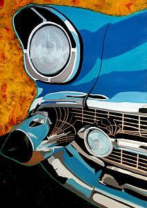 Automobile Painting - Blue 57 by Blackcat Studios