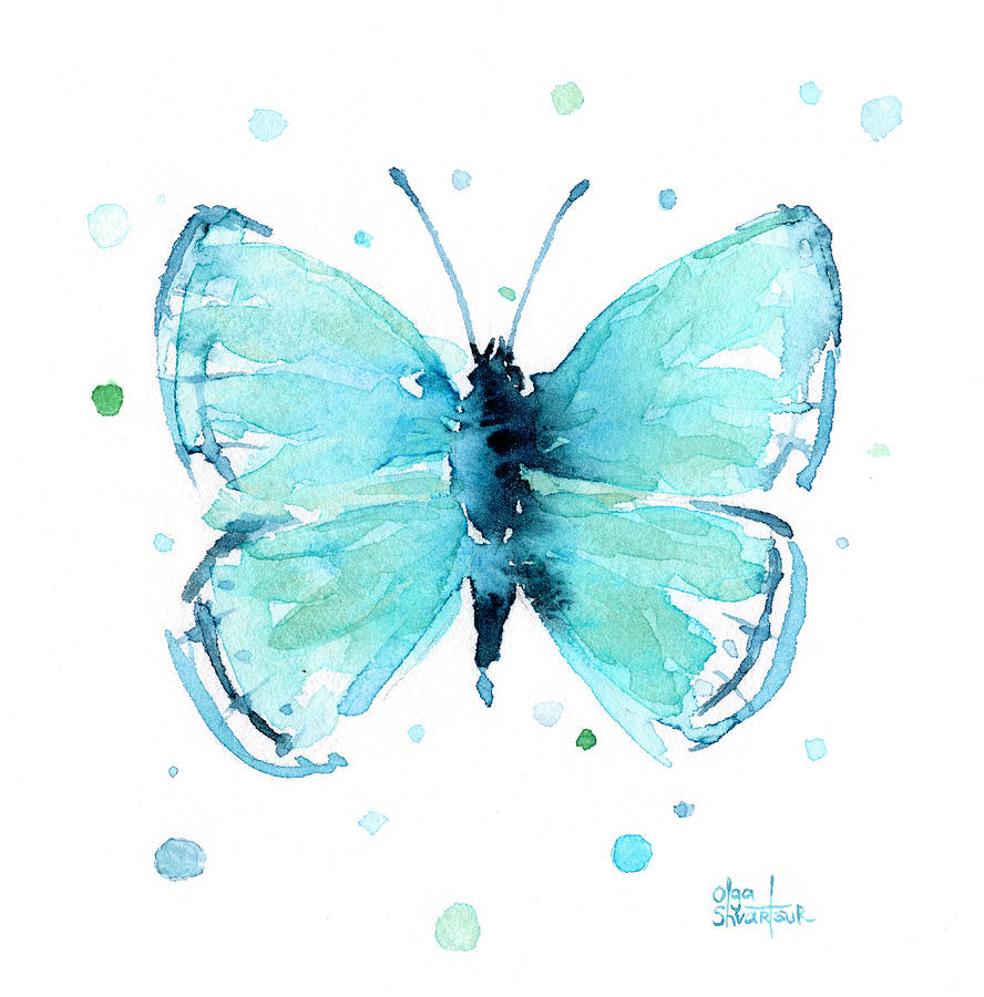 Watercolor Painting - Blue Abstract Butterfly by Olga Shvartsur