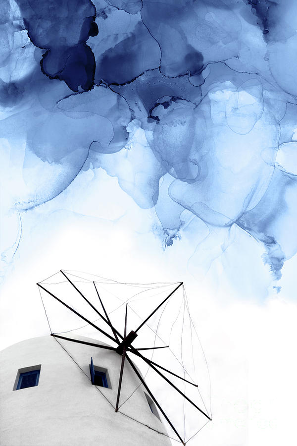 Blue Abstract Mixed Media - Stormy Weather II by PrintsProject