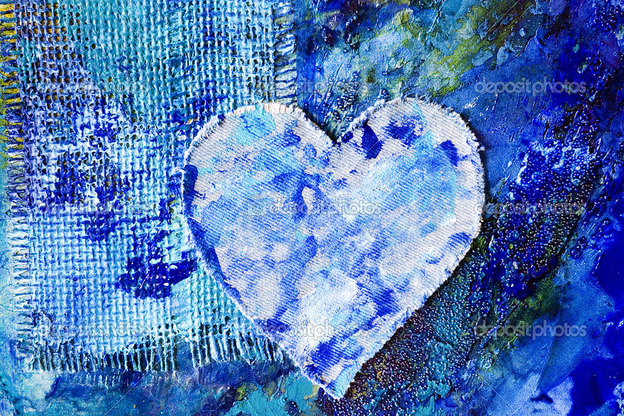 Blue Painting - Blue Abstract Painting With Heart by Ali  Abbas