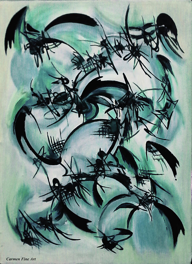 Oil Painting Painting - Blue Abstraction by Carmen Fine Art