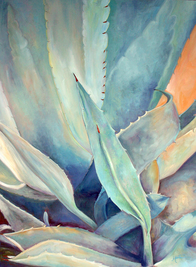 Plant Painting - Blue Agave Family by Athena Mantle