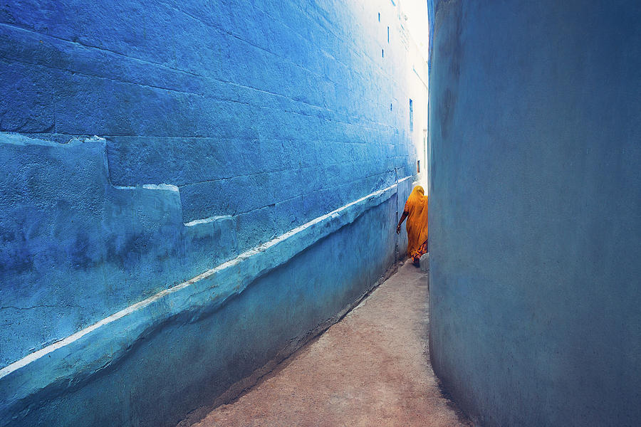 India Photograph - Blue Alleyway by Marji Lang