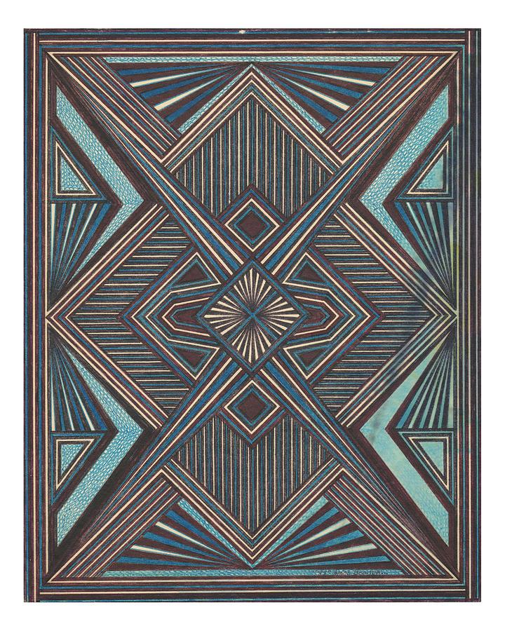Geometric Design Drawing - Blue And Black Design by Amos Beaida