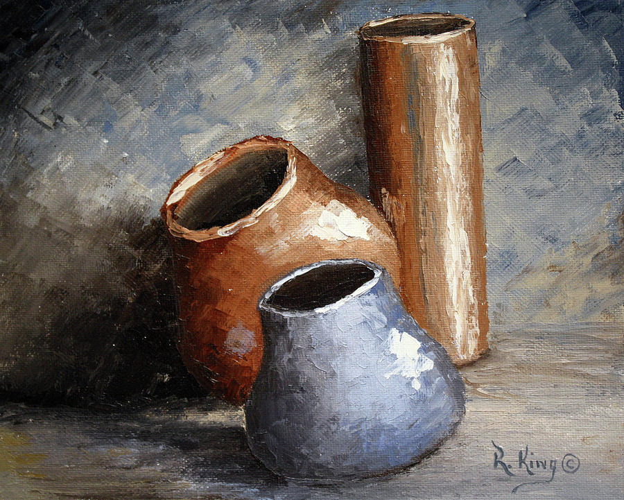 Pottery Painting - Blue And Brown Pots by Roena King