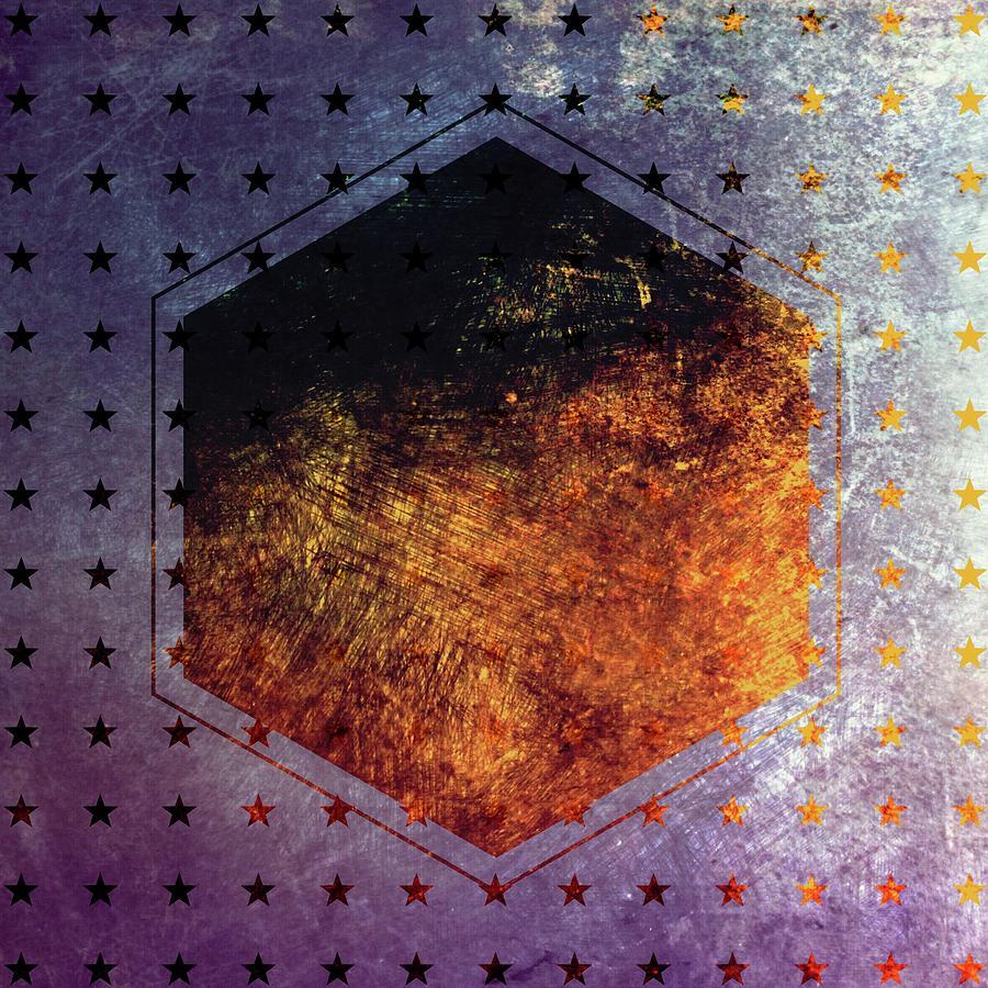 Brandi Fitzgerald Digital Art - Blue And Gold Starry Hexagon by Brandi Fitzgerald