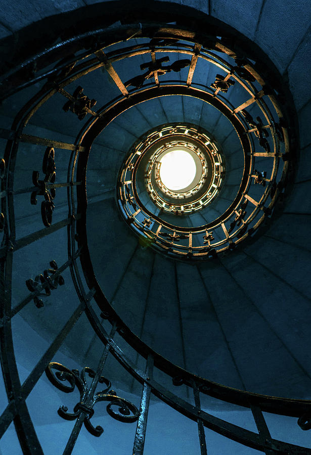 Blue Photograph - Blue and golden spiral staircase by Jaroslaw Blaminsky