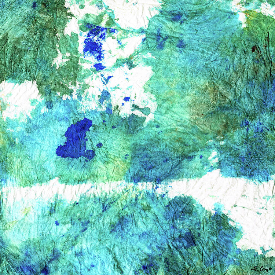 Blue Painting - Blue And Green Abstract - Imagine - Sharon Cummings by Sharon Cummings