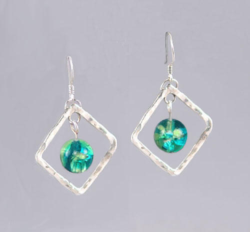 Hand-made Jewelry - Blue And Green Diamond Earrings by Barbara Otterson