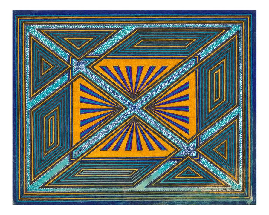 Geometric Design Drawing - Blue And Orange Design by Amos Beaida