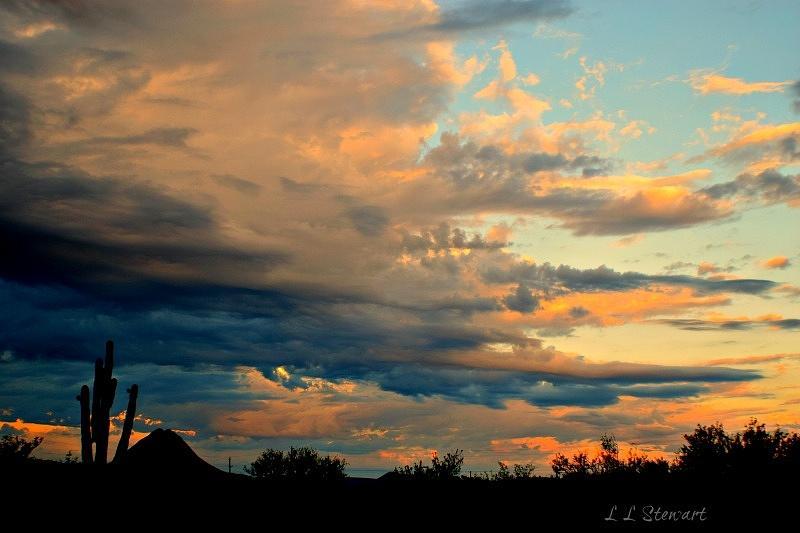 Arizona Photograph - Blue And Orange Sunset by L L Stewart