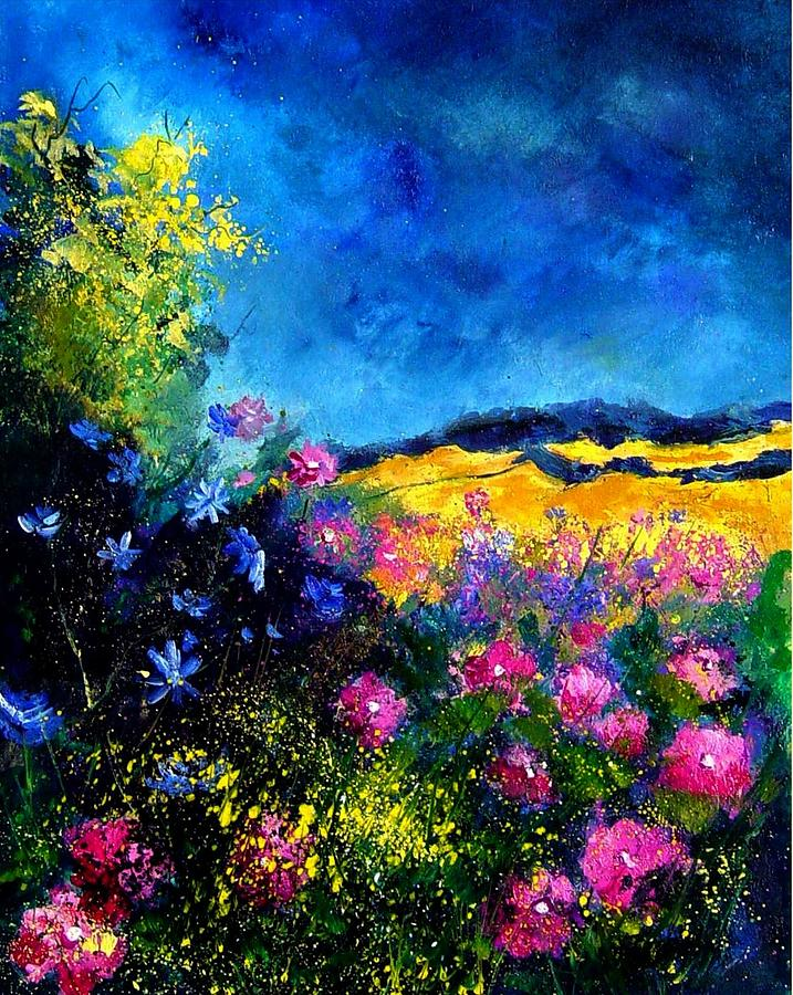 Landscape Painting - Blue and pink flowers by Pol Ledent