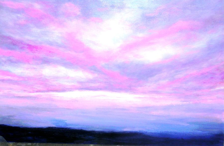 Blue And Pink Sky Painting By Marie Line Vasseur
