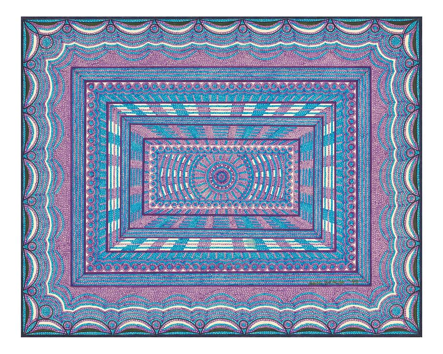 Geometric Design Drawing - Blue And Purple Design by Amos Beaida