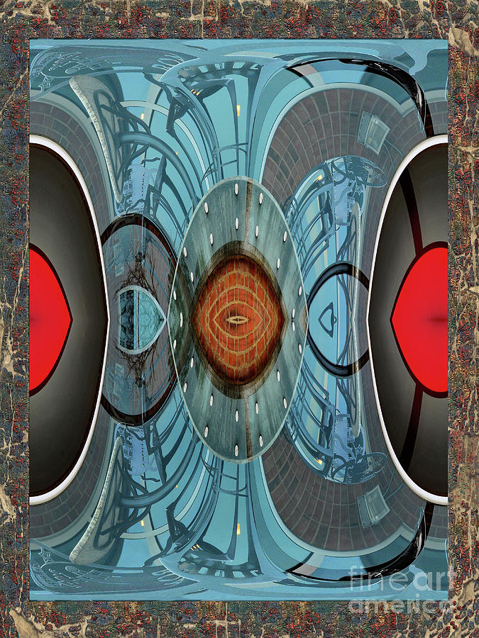Blue And Red Abstract Digital Art