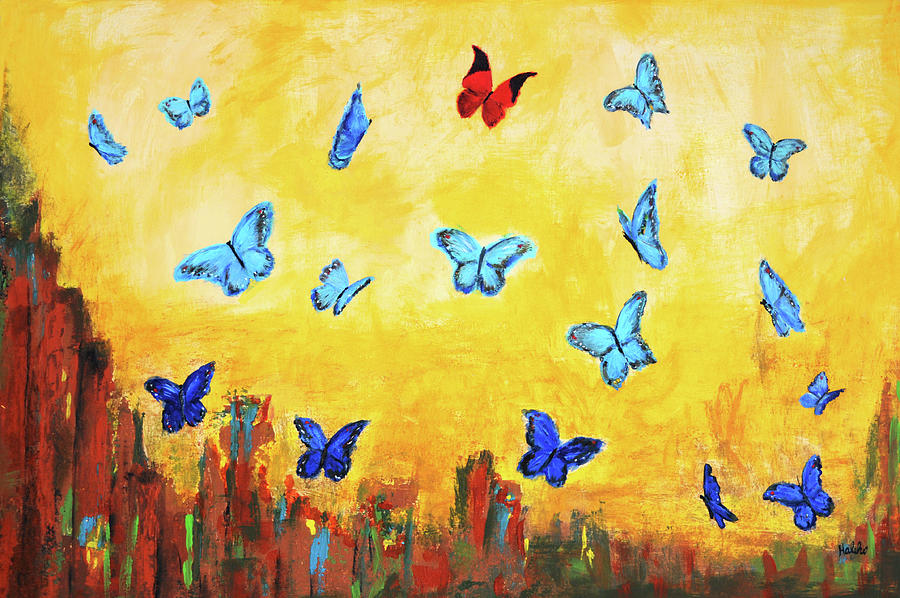 Blue Butterfly Painting - Blue And Red Butterflies by Haleh Mahbod
