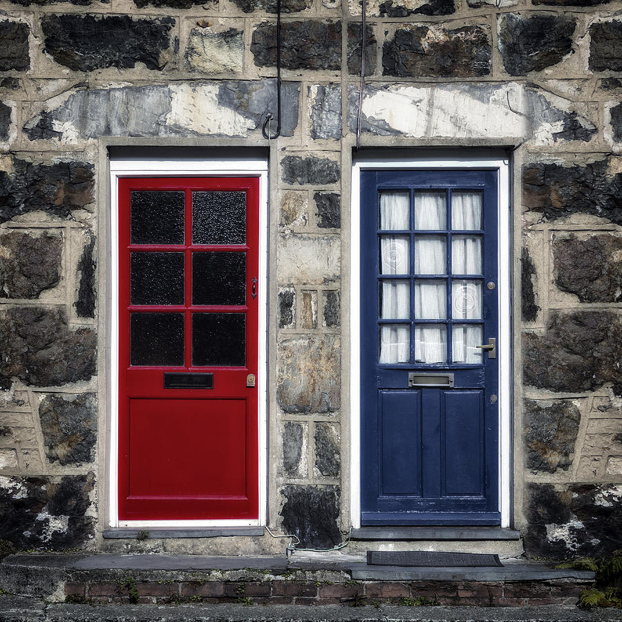 Door Photograph - Blue And Red Doors by Joana Kruse