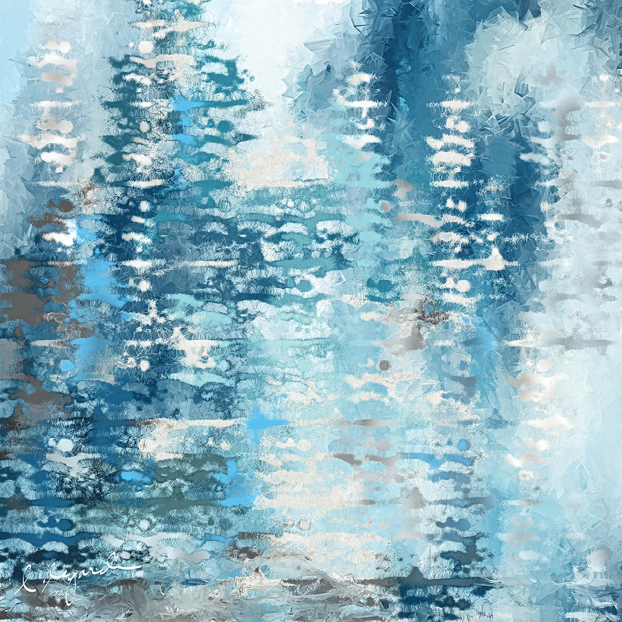 eabb74c56ce Blue And White Abstract Painting by Lourry Legarde